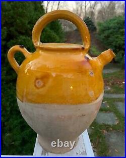12' French Confit Antique Pottery Stoneware Pot Yellow Glaze Beaucaire Cruche
