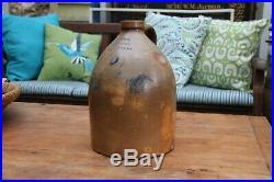 1800's NEW BRUNSWICK NJ E. F. BUTLER COBALT BLUE TULIP STONEWARE 2 JUG pottery