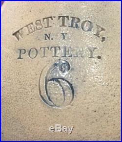 1800's WEST TROY N. Y. POTTERY STONEWARE JUG WITH DECORATION
