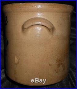 1800s Antique New York Stoneware Crock Burger Bro's Folk Art Cobalt Blue