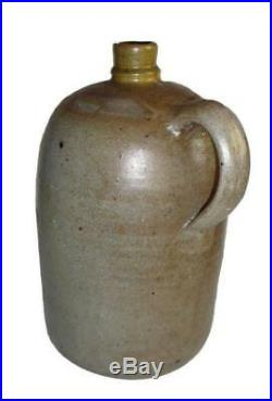 1860's Early Virginia Stoneware Pottery Jug 12 H Salt Glazed Att. Shenandoah