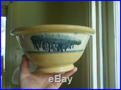 1860s ORIGINAL BLUE SEAWEED MOCHA YELLOWWARE 10POTTERY MIXING BOWL MIDWESTERN