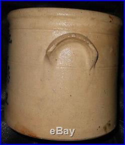 1868 Antique Stoneware Crock Pottery Dated 7.5 Primitive Folk Art Cobalt Blue
