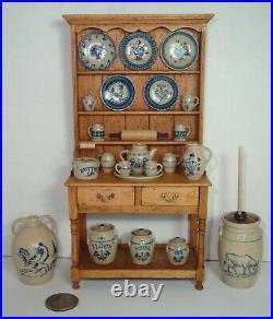 1980's Jane Newman 112 Mini Cupboard + 22 pieces of Jane Graber Stoneware & Pin
