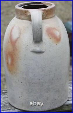 19th C salt glaze beige jug jar withhandle brown burnt orange stoneware pottery