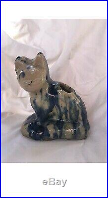 19th Century American Antique Stoneware Primitive Cat Cobalt Blue Drip Glaze