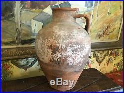 19th Century European Pottery Jug Olive Jar Redware Rustic Stoneware Terra Cotta