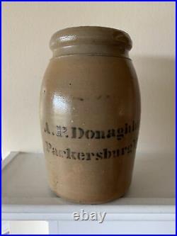 19th century A P Donaghho Parkersburg, West Virginia decorated stoneware jar