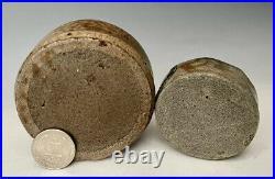 (2) Antique Salt-Glazed Stoneware Pottery Inkwells (2W & 3W), American, c. 1850