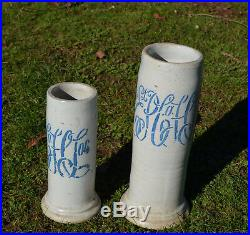 2 Rare Antique East Liverpool Ohio Stoneware Pottery Bottle Jugs Vase Crocks