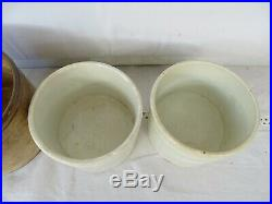 3 pcs- Antique French Ware Pottery Aphotecary Jar Crock Stoneware Cannister 19th