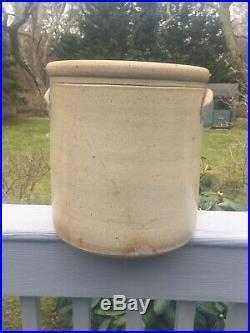 4 Gallon Bee Sting Stoneware Crock Early Antique Primitive Salt Glaze Pottery