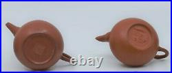 4 Yi-Xing Miniature Red Stoneware Pottery Teapots Chinese Antique signed