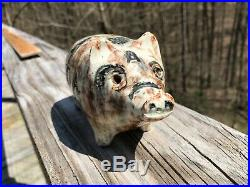 AAFA Antique Pottery Stoneware Incised Pig decorated roseville Spongeware