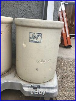 ANTIQUE 12 GALLON Panama Pottery STONEWARE CROCK Sacramento CA