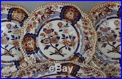 ANTIQUE 19th C. SET 8 Spode Felspar Stoneware 3599 Imari pattern DINNER PLATES