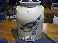 ANTIQUE BLUE DECORATED STONEWARE BIRD CROCK / BELMONT AVE. POTTERY 2 Gallon