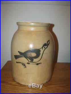 ANTIQUE BLUE DECORATED STONEWARE BIRD CROCK / FULPER POTTERY 1 1/2 Gallon