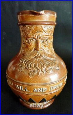 ANTIQUE DOULTON Motto WHISKY JUG pitcher LAMBETH POTTERY saltglaze stoneware
