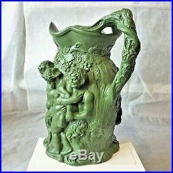 ANTIQUE MINTON No-19 BACCHUS & SILENUS DARK GREEN WINE JUG. EARLY 1800's. V. RARE