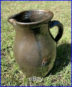 ANTIQUE STONEWARE Pitcher Pottery Stoneware Southern Potters Swipe Glaze 9.5