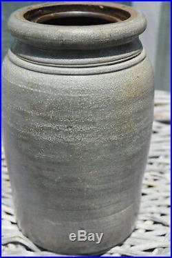 A. P. Donaghho Grey Saltglazed Stoneware Crock Pottery Parkersburg, W. VA. 8