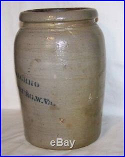 A. P. Donaghho Grey Saltglazed Stoneware Crock Pottery Parkersburg, W. VA. 9 3/4