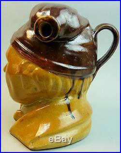 A Salt Glazed Victorian Antique Souter Johnny Stone Ware Pottery Jug/ Flask
