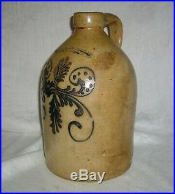Antique1856 Nichols & Boyton Burlington Vt 1 Gal Salt Glaze Cobalt Stoneware Jug