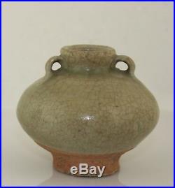 Antique 15th C Sawankhalok Celadon glazed stoneware pottery jar Thailand Siam
