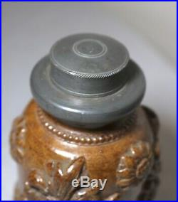 Antique 1700's handmade salt glazed stoneware pewter pottery tobacco jar humidor