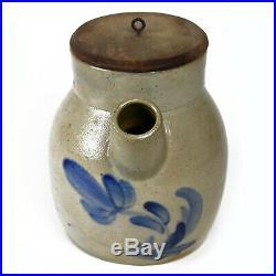 Antique 1800's Clark Pottery Athens NY Cobalt Decorated Stoneware Batter Jug