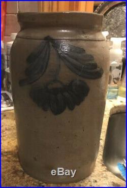 Antique 1800s Cobalt Blue Unique Floral Design Stoneware Pottery Crock