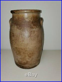 Antique 1860 New York Stoneware Large Floral Churn Jug Vase Pottery Earthenware