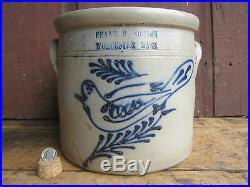 Antique 1865 SMALL 1 Gallon Norton Worcester Bird Decorated Stoneware Crock
