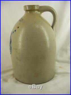 Antique 1870 F B Norton Cobalt Blue Floral Stoneware Pottery Jug