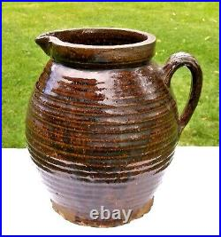 Antique 18th C REDWARE Primitive Ovoid PITCHER Pot JUG Crock Manganese Stoneware