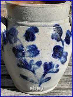 Antique 19th C. Blue Cobalt Decorated Stoneware Crock, Herman, Baltimore, MD. AAFA