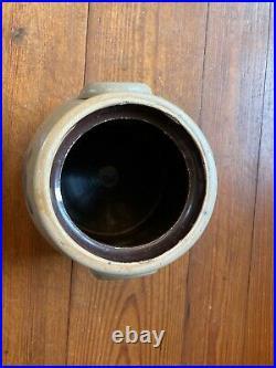 Antique 19th C Cobalt Blue Flower Decorated Stoneware 2 gallon Crock. Incised 2