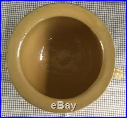 Antique 19th C Yellow Ware Blue Seaweed Mocha Chamber Pot 4 1/2