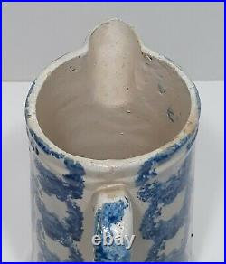 Antique 19th Century Spongeware Stoneware Pottery Pitcher Blue and White Rings