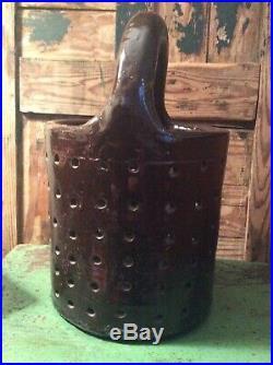 Antique 19th c Stoneware Cheese Drain Strainer Sieve #4 Exc