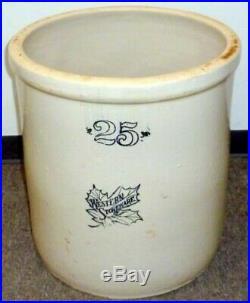 Antique 25 Gallon Western Stoneware Pottery Crock Amazing Vintage Ceramic Crock