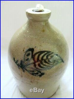 Antique 2 Gal Stoneware Salt Glaze JUG COBALT BOSTON FOLK ART PRIMITIVE EDMANDS