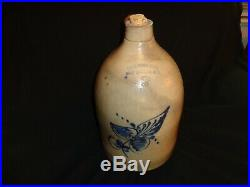 Antique 2 Gallon Ft. Edward N. Y. Haxstun Cobalt Blue Stoneware Pottery Jug, (j1)