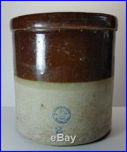 Antique 2 Gallon McDade Pottery Stoneware Crock Layered Glaze Texas 10 LBS