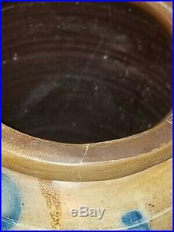 Antique 2 Gallon Virginia Stoneware Blue Decorated Crock