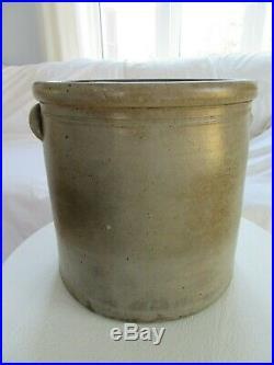 Antique 3 Gal Stoneware Salt Glaze Crock BLUE FLOWER FOLK ART PRIMITIVE 19TH CEN
