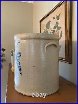 Antique 4 Gallon Cobalt Blue Grapes Design Stoneware CROCK Fancy'4