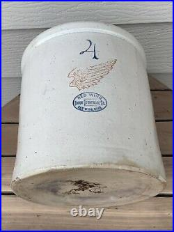 Antique 4 Gallon Red Wing Union Stoneware Pottery Crock With 4 Wing NICE